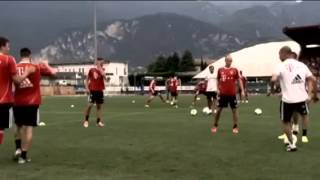 Pep Guardiola joins in a Bayern Munich Tiki-Taka training session