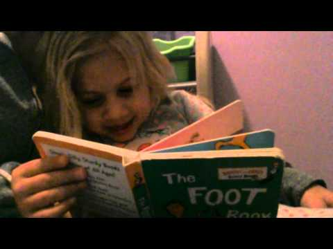 Scarlett reading the Foot Book
