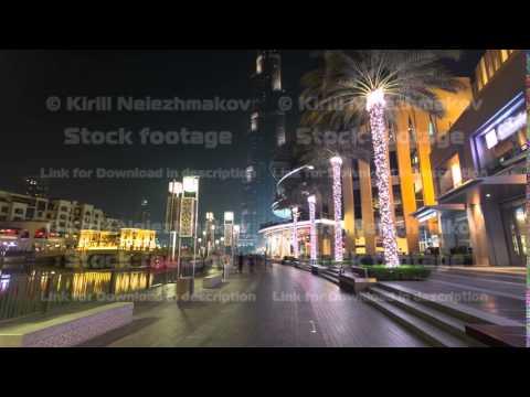 area near the Dubai Fountain at night, UAE timelapse hyperlapse