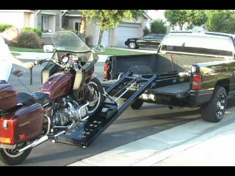 Rampage power lift Motorcycle Loader makes loading easy of a Motorcycle Trike in a pick up truck