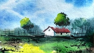 How to Draw a Village landscape with watercolor | Paint with david |