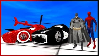 Spiderman and Batman Colors Cars Lightning McQueen Superhero Movie Video for Kids
