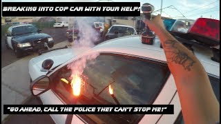 1000 Degree Drill Breaking into Cop Car Ford Crown Victoria police