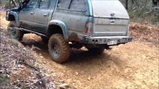 Toyota Hilux Woods Point Hill Climb mud clay steep slippery rock