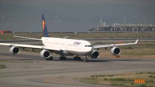 Lufthansa Airbus A340-600 Landing & Take off at Osaka