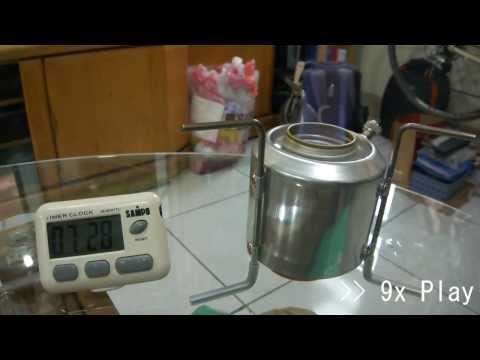 DIY - Chimney-Jet Alcohol Stove. boiling water - with pot lid