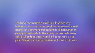 What Is Food Consumption Score (FCS)?
