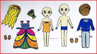 Tự làm búp bê giấy - Búp bê cô dâu chú rể mặc đồ cưới - How to make paper doll craft (Chim Xinh)