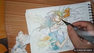 [Watercolor Speedpaint]Open Commission- part 1-Anime girl-Sakura Koi watercolor