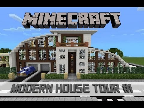 Minecraft Pocket Edition - Modern House Tour #1 (Quartz Blocks And Brown Clay)