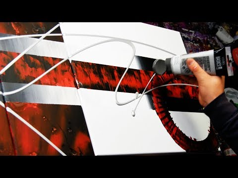 Abstract Painting Demo Acrylics using brush, knife and masking tape - Neuroides - John Beckley