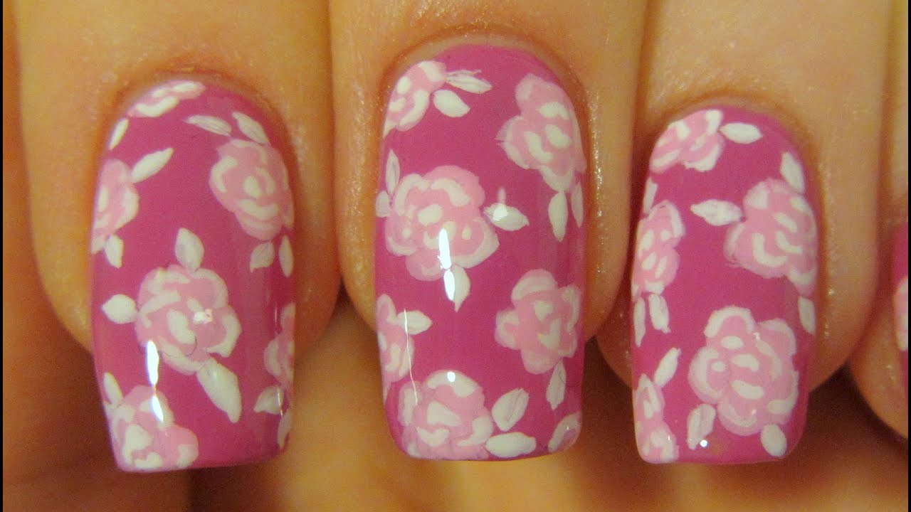 Nail Art Roses Tutorial Rose Print Design Nail Art