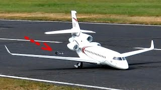 DASSAULT FALCON 8X HUGE RC SCALE MODEL TURBINE JET WITH VERY HARD LANDING / Jetpower Fair 2016
