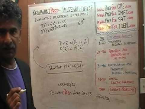 Algebra Help Day 17 - Math Tutor - GRE, GMAT, SAT Prep - Online via Skype KeshwaniPrep.com