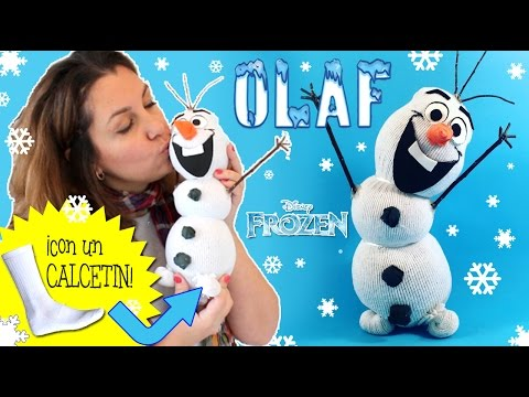 Muñeco de nieve OLAF hecho con calceti?n * Manualidades NAVIDEÑAS