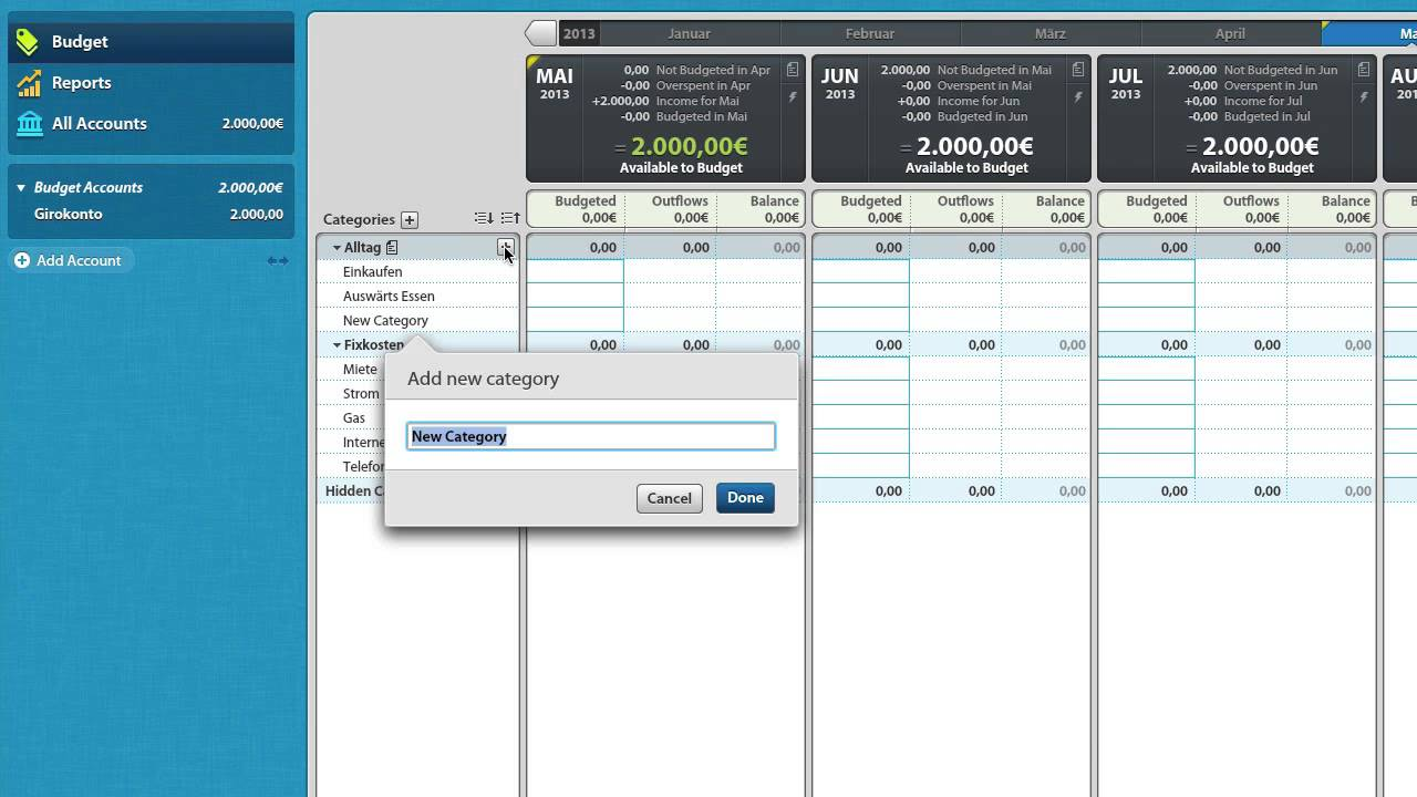 Ejemplo de presupuesto en YNAB