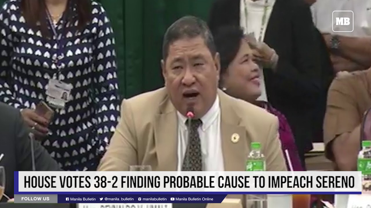House votes 38-2 finding probable cause to impeach Sereno