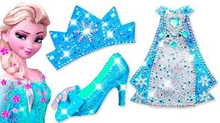 Play Doh Making Colorful Sparkle Disney Princess Frozen Elsa Dress High Heels Crown Castle Toys