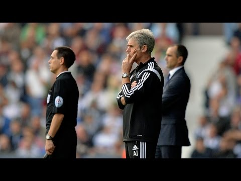 Alan Irvine reacts to West Bromwich Albion's 2-0 Premier League defeat by Everton at The Hawthorns