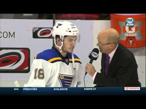 Ty Rattie pre game interview. St. Louis Blues @ Carolina Hurricanes Jan 30 2015 NHL