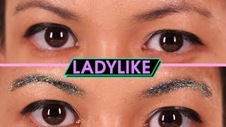 Women Try Glitter Eyebrows • Ladylike
