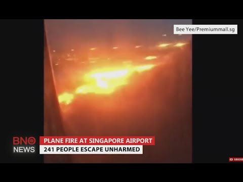 Singapore Airlines Flight SQ368 catches fire at Changi Airport