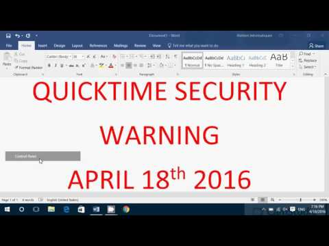 Important Windows Security Warning for Quicktime April 18th 2016