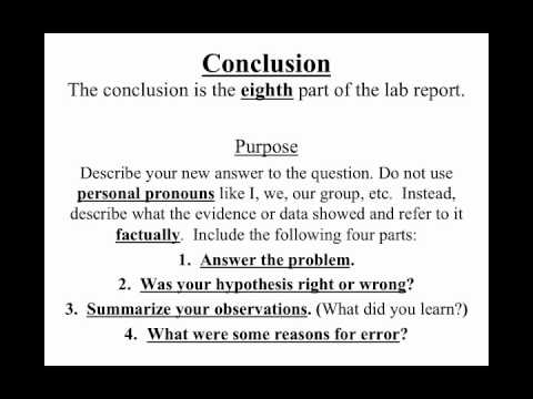 Formal lab report outline