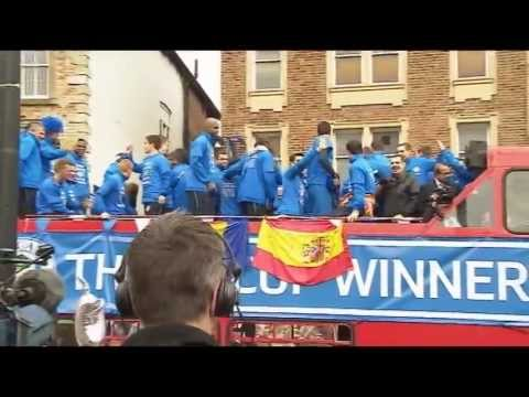 Wigan celebrate FA Cup win with parade shortly after relegation -- video