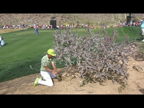 Rickie Fowler escapes a prickly lie at Accenture