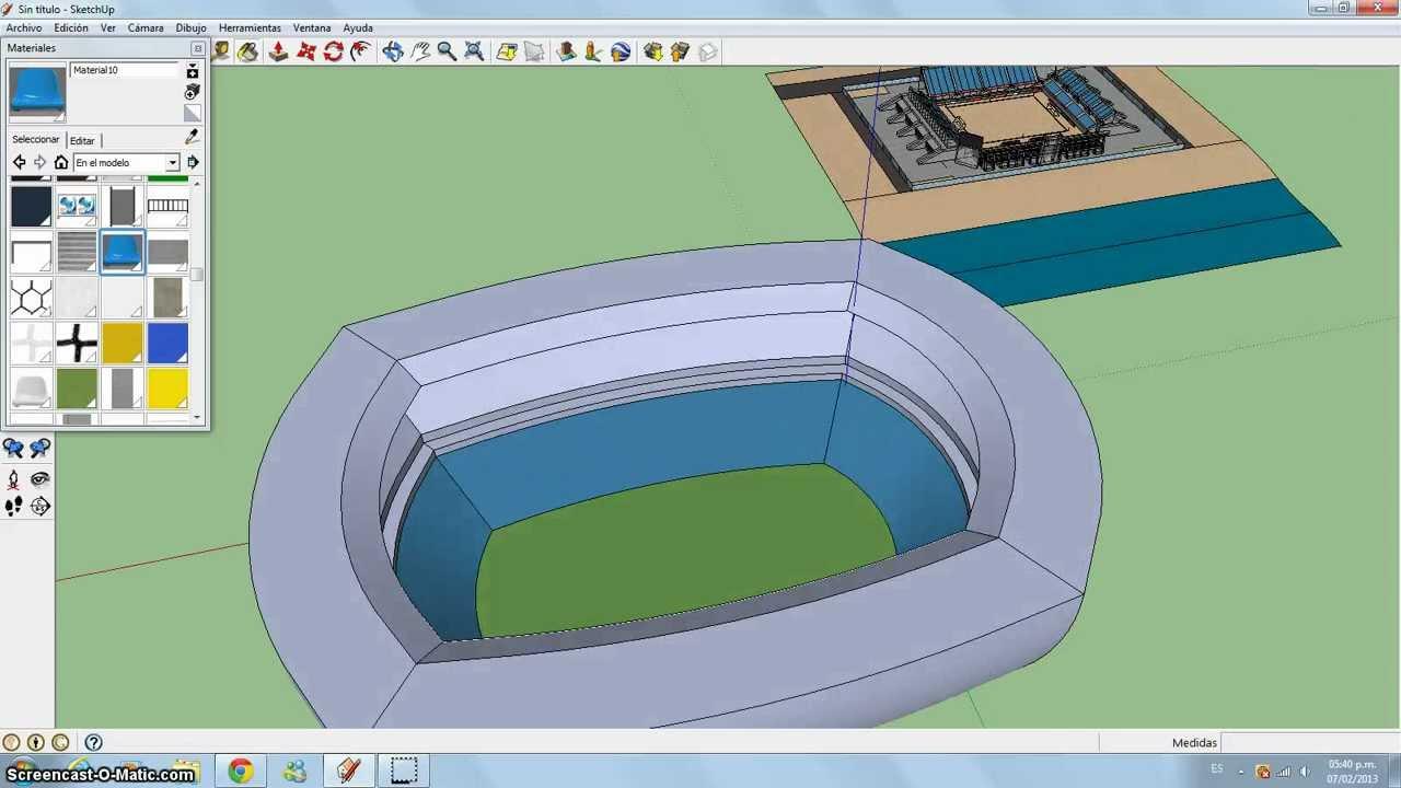 C mo hacer un estadio en google sketchup youtube for Mobilia para sketchup 8