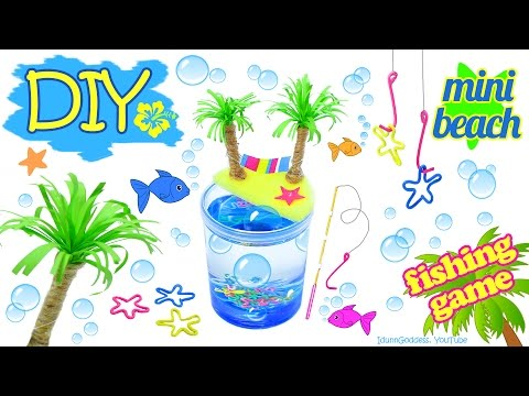 DIY Miniature Beach Stress-Relieving Fishing Game - How To Make A Tabletop Fishing Game In A Glass