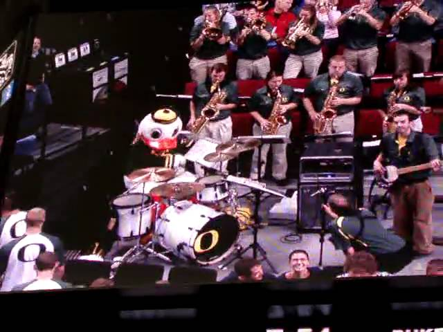 The Duck plays drums at the Rose Garden - Oregon vs. Duke 11-27-2010