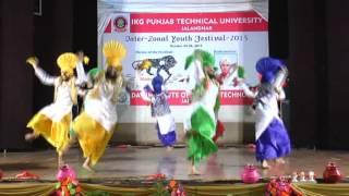 GNE Bhangra Winning Performance at PTU InterZonals 2015 at DAVIET,JALANDHAR