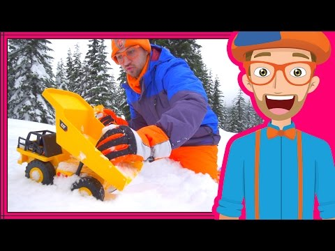 Blippi playing in the Snow with Dump Truck and Excavator
