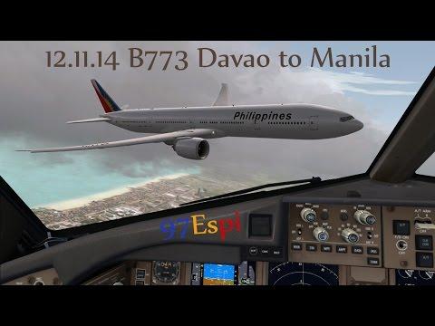 FSX HD VATSIM Full Flight 12.11.14 Davao to Manila Philippine Airlines B773