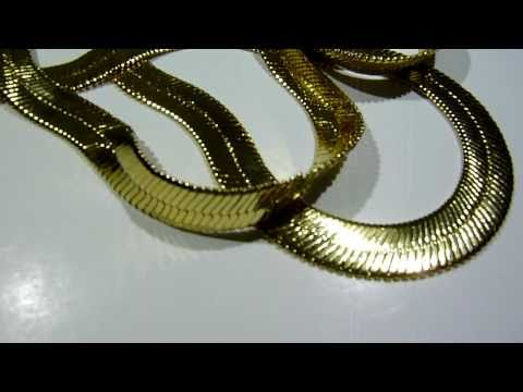 "$75 Lab Made 28"" GOLD Herringbone chain/necklace! Old school hip-hop jewelry! www.LabMadeJewelry.com"