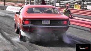 426 Hemi Cuda vs 426 Hemi Coronet R/T - 1/4 mile drag race video - Road Test TV ®