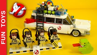 Lego Ghostbusters with Ecto 1. Will Slimmer cover them with its slime? Speed building + kids story