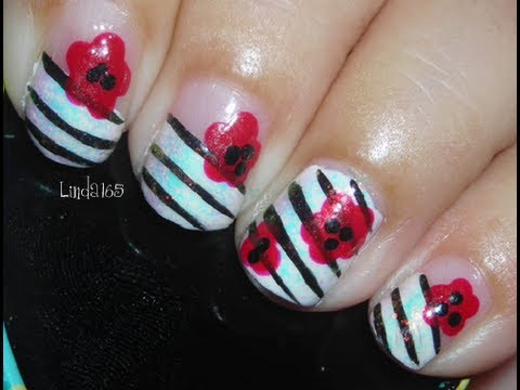 Nail Art - Stripes and Flowers - Líneas y Flores