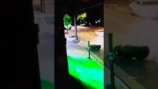 Car hits pole, car accident, mini van accident