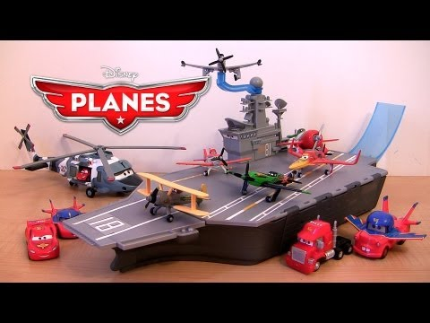 Disney Planes Aircraft Carrier Playset Stores 6 Airplanes Pixar Cars Toons Lightning McQueen
