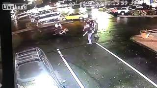 Man punches woman and runs  karma captured on CCTV