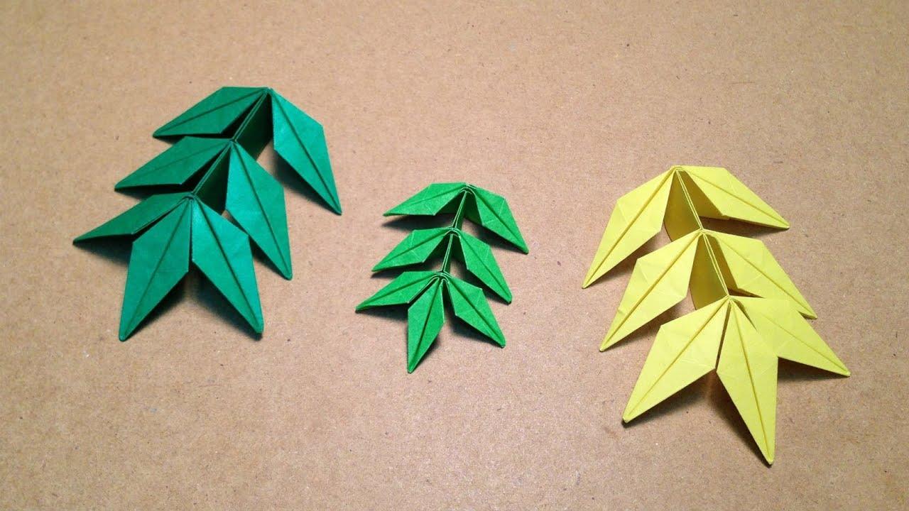 すべての折り紙 川崎ローズ 折り紙 折り方 : ... の葉の折り方 作り方 - YouTube