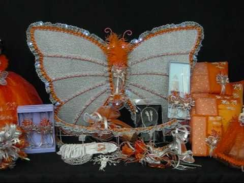 Quinceanera Centerpieces - Butterfly Theme Orange/Silver