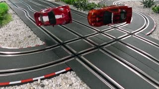 Kick 'em out! Heavy crash scenes on a four lane CARRERA GO!!! track.
