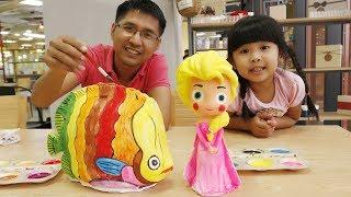 TRÒ CHƠI TÔ TƯỢNG CON CÁ MÀU SẮC VÀ BÉ BÚN TÔ TƯỢNG ELSA VÁY HỒNG Coloring Elsa  | Creative Kid's