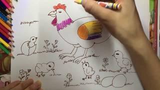 Vẽ đàn gà - p1 - drawing mommy chicken and little chicken -Học vẽ cùng Chị Hoa Cười
