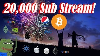 🔴 Bitcoin and Stocks Live : 20,000 Sub Stream! Weekly Candle Closing.  Ep. 676 - Technical Analysis