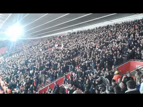 Manchester United fans at Southampton louis van gaals redarmy